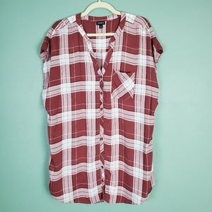 Torrid Red Plaid Challis Doman Tunic Size 2X